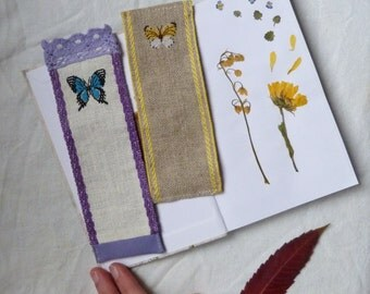 Set of 3 bookmarks with embroidered butterfly