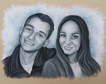 Monochrome Couple pastels portrait
