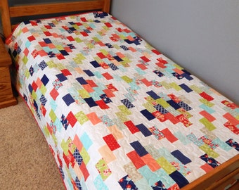 Twin Quilt, Modern Quilt,  Red, Blue and Green, Girl Quilt, Handmade Quilt for Sale, Bedding Blanket, Homemade Bed Quilt