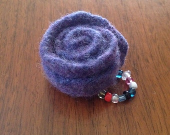 Felted Rose Flower and Seed Bead Ring