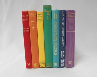Rainbow Books, Vintage Books, Instant Library, Books for Decor