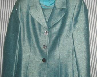 Turquoise Silk Skirt Suit/Dinner Suit  Size 12