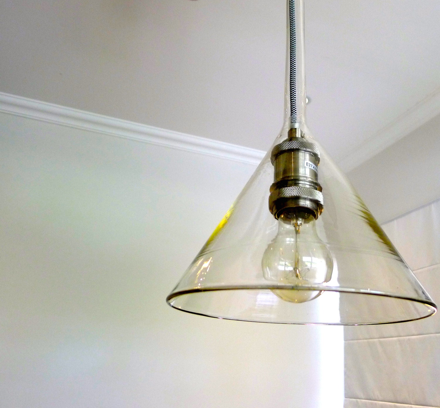 Up-cycled Glass Funnel Pendant Light 21cm Diameter By