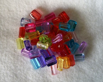 50 Mixed Color Acrylic Spacer Beads 9mm x 11mm