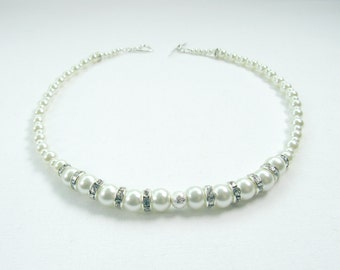 Crystal and Pearl Necklace, Ivory, Pearl Necklace, Magnetic/Heart Toggle/Lobster Clasp