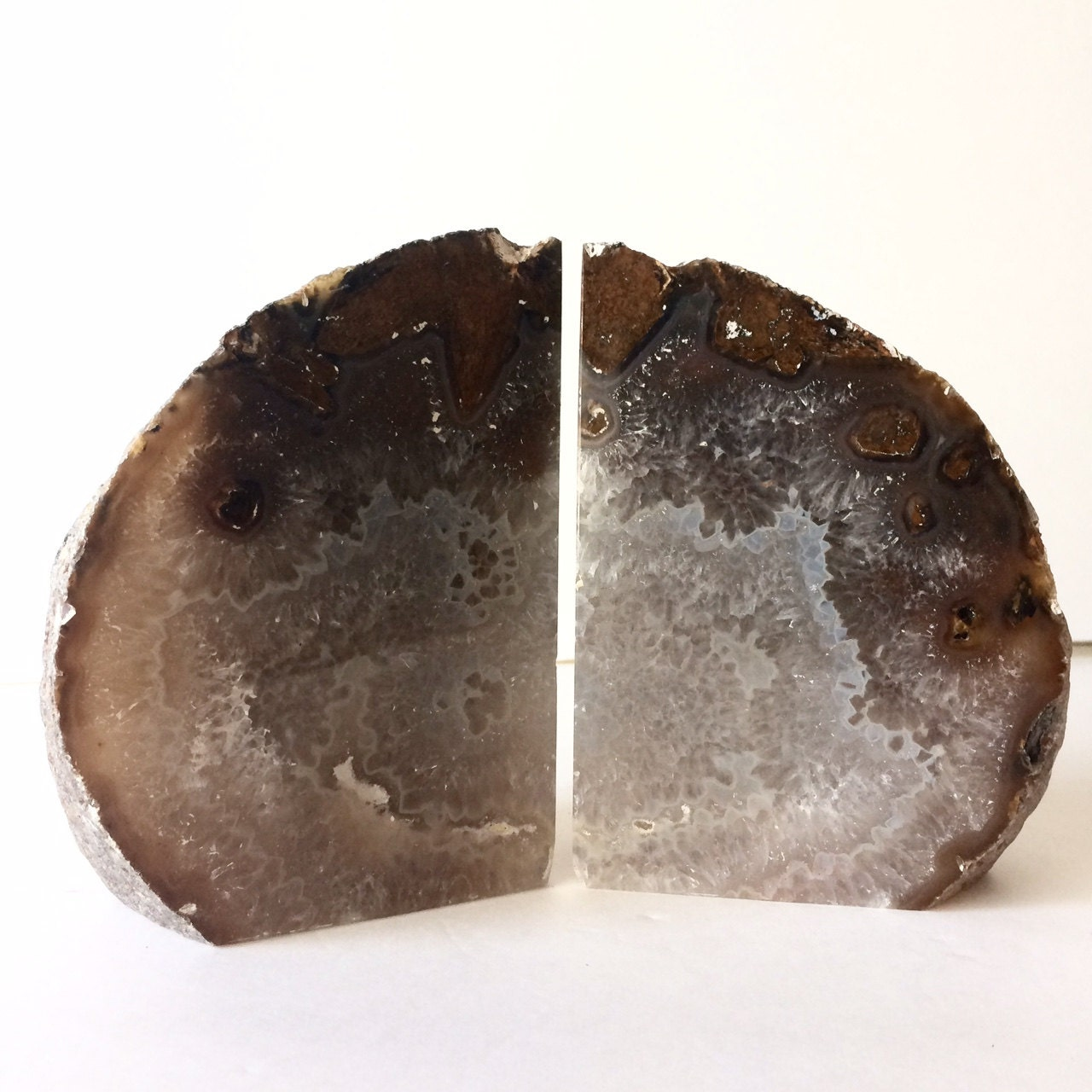 Agate bookend set natural geode bookends rock bookends - Geode bookends ...