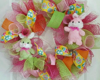 Easter Wreath with Bunnies