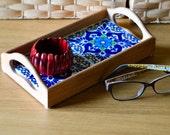 small wood desk tray / key mail storage / cubicle decor / makeup storage / desk organizer /gypsy wedding decor /bridesmaid gift /nightstandd