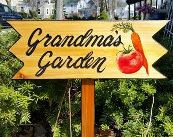 "Garden Signs, Personalized Garden Signs,  7 1/2 x 20 inches. comes with  20 "" stake"