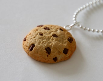 Chocolate Chip Cookie Necklace - Polymer Clay Miniature Food Jewelry