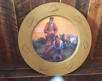 vintage western charger plate