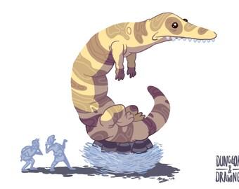 Giant Banded Lizard, A6 Print