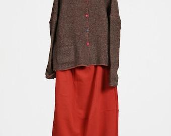 OrangeRed Long Skirt, Cotton