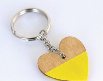 Yellow Wood Heart Keyring