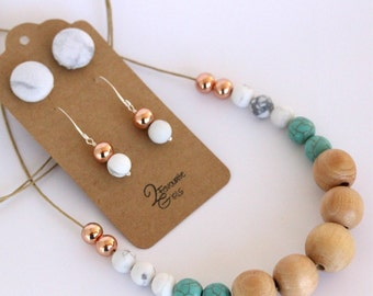 Marble, Rose Gold & Turquoise Necklace and Earring Set