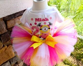 Minion Tutu, Girl Minion Tutu, Pink Minion Tutu, Pink Yellow Tutu, Pink Polka Tutu, Lemonade Tutu, Personalized Shirt, Birthday Tutu