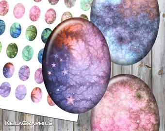 Digital Collage Sheet - Instant Download - Oval Size 18x25mm + 13x18mm + 10x14mm Printable Images - Fractal Clouds