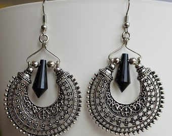 Antique Silver metal Earrings with hematite crystal drop, Tribal, Boho, Hippy, Ethnic