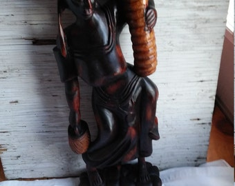 """Vintage 24"""" Carving of an Older African Tribal Woman Doing Her Chores."""