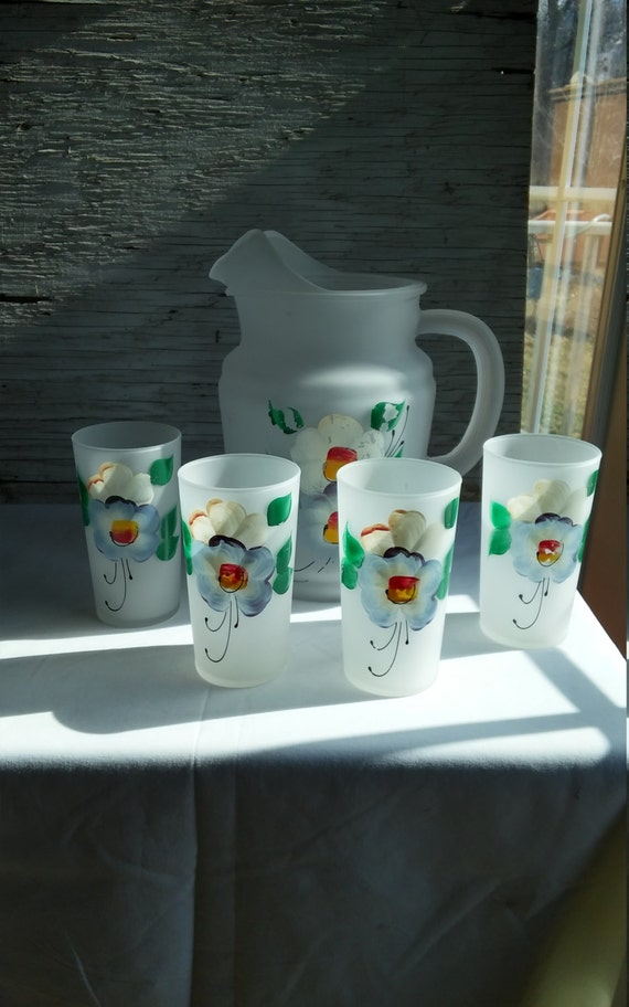 Vintage 2 Quart Hand Painted Frosted Glass Pitcher and Four Matching 8 oz Glasses
