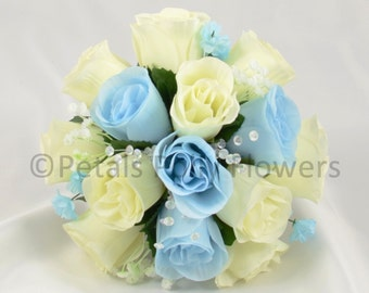 Artificial Wedding Flowers, Baby Blue & Ivory Bridesmaids Bouquet Posy