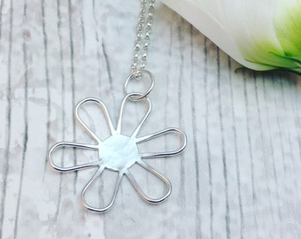 Flower Necklace, Flower Pendant, Silver Flower Necklace, Sterling Silver Flower Pendant