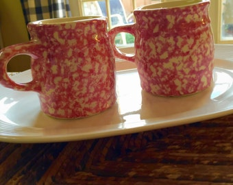 Two Roseville Friendship Pottery Spongeware Mugs - Pink and Cream USA Pottery