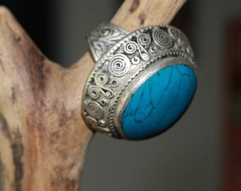 Afghan Kuchi Ring Vintage Tribal Ring Turquoise Ring Onyx Ring Gypsy Bohemian Boho Statement Ring Festival Jewelry