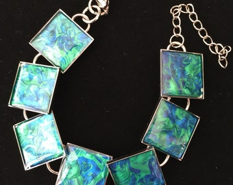 Hand Painted Green and Blue Square Resin Bracelet