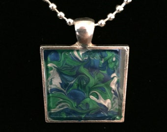 Hand Painted Green and Blue Square Resin Pendant