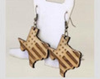 Wood Boot Earrings Personalized or Styled (Wood & Acrylic) comes as pair