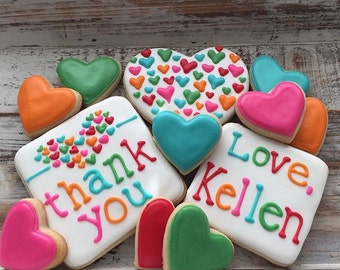 Thank You Cookies with Mini Hearts (1 dozen)