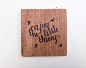 Enjoy the little things wooden wall tile, pyrography bird silluette wall hanging, wood inspirational quote home decor wooden art hanging