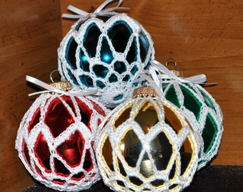 Crochet Covered Glass Ball Christmas Ornament