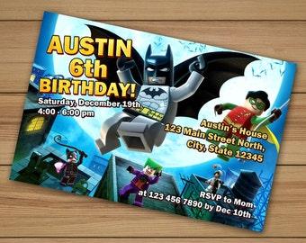 Custom Birthday Invitations Lego Batman Birthday Personalized, Lego Batman invitations, Batman Birthday Invitation, lego invitation birthday