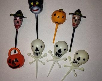 Vintage Halloween Cupcake Picks Lot of 8