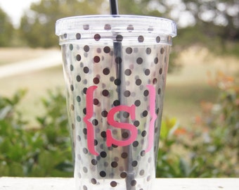 Polka dotted Monogrammed Tumbler Cup