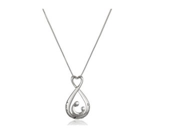 """Sterling Silver 925 Teardrop Open A Mother's Love Pendant Necklace, 18"""" new free shipping"""