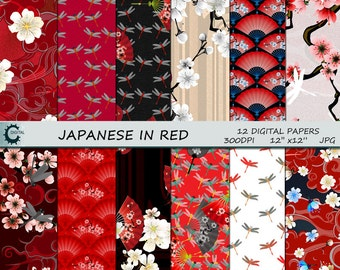 Japanese in Red - Digital Paper Collection 12x12
