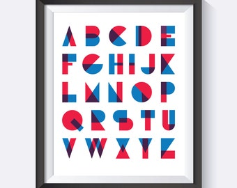 Alphabet Print, Geometric, Nursery Art, Office Art,  Digital Print,  Wall Art