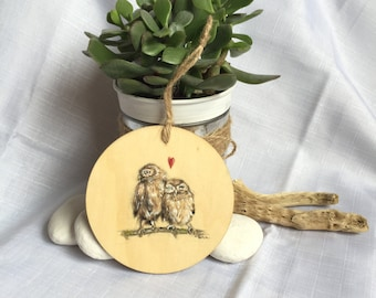Owls in love - hand painted wooden plaque / hanging ornament