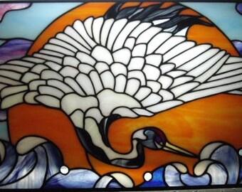 Crane / Stain Glass Suncatcher / Stain Glass Wall Hanging / Stain Glass Window / Stain Glass Art / Wall Decor