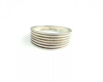 Vintage Sterling Silver Textured Wide Band Ring- Size 9.5