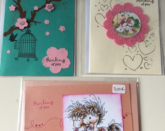 """3 set greeting cards """"Thinking of you"""""""