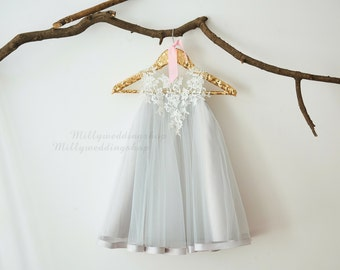 Ivory Lace Silver Grey Tulle Flower Girl Dress M0044