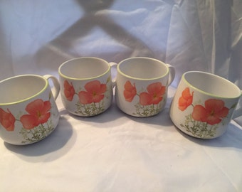 Set of four Poppy Coffee Cups