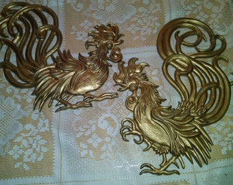 Rooster wall hanging, metal Rooster, Rooster, Fighting rooster, vintage rooster, brass rooster, wall hanging, kitsch, MCM rooster, kitchen