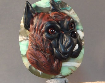 New Boxer dog  Lampwork Focal Bead
