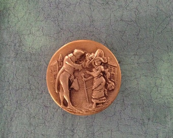 Vintage Picture Button-French or English couple greeting on a street