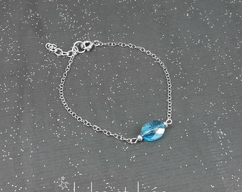 Aquamarine oval Swarovski crystal bracelet, sterling silver 925